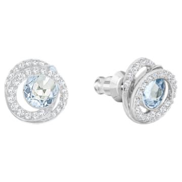 Generation pierced earrings, Blue, Rhodium plated - Swarovski, 5616264