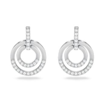 Circle 穿孔耳环, 白色, 镀铑 - Swarovski, 5616265