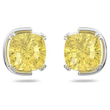 Harmonia 耳钉, 枕形切割仿水晶, 黄色, 镀铑 - Swarovski, 5616511