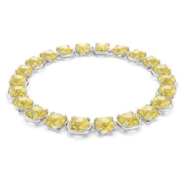 Harmonia choker, Cushion cut crystals, Yellow, Rhodium plated - Swarovski, 5616522