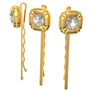 DLC002 发卡, 套装 (3), 枕形切割仿水晶, 黄色, 镀金色调 - Swarovski, 5616848