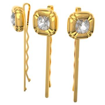 DLC002 hair pin, Set (3), Cushion cut crystals, Yellow, Gold-tone plated - Swarovski, 5616848