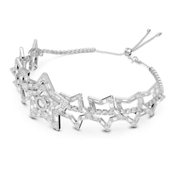 Stella 束颈项链, 星星, 白色, 镀铑 - Swarovski, 5617753