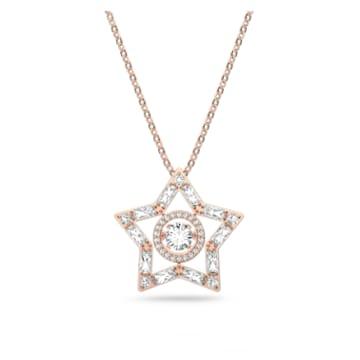 Stella 链坠, 白色, 镀玫瑰金色调 - Swarovski, 5617766