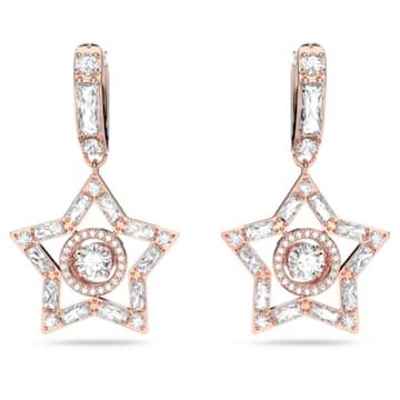 Stella hoop earrings, White, Rose gold-tone plated - Swarovski, 5617769