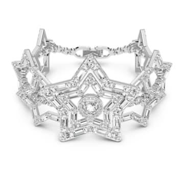 Stella bracelet, Star, White, Rhodium plated - Swarovski, 5617880