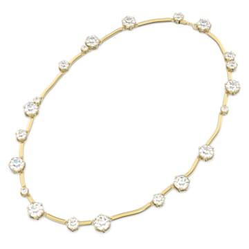 Constella necklace, Round cut crystal, White, Gold-tone plated - Swarovski, 5618033