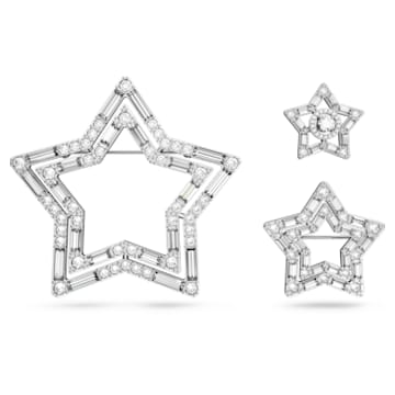 Stella 胸针, 套装 (3), 星星, 白色, 镀铑 - Swarovski, 5618048
