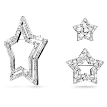 Stella brooch, Set (3), Star, White, Rhodium plated - Swarovski, 5618048