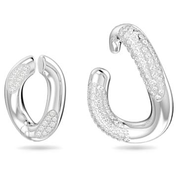 Dextera ear cuff, Single, Set, White, Rhodium plated - Swarovski, 5618303