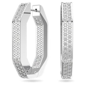 Dextera hoop earrings, Octagon, Pavé crystals, Medium, White, Rhodium plated - Swarovski, 5618308