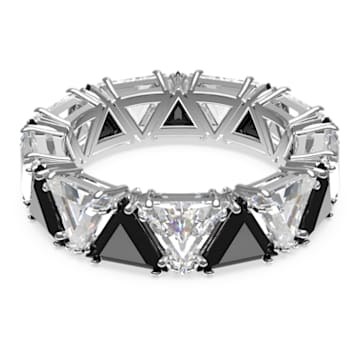 Millenia cocktail ring, Triangle cut crystals, Black, Rhodium plated - Swarovski, 5619153