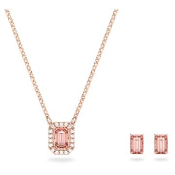 Millenia 套装, 八角形切割 Swarovski 皓石, 粉红色, 镀玫瑰金色调 - Swarovski, 5620548