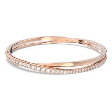 Twist bracelet, White, Rose gold-tone plated - Swarovski, 5620552