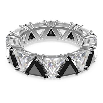 Millenia cocktail ring, Triangle cut crystals, Black, Rhodium plated - Swarovski, 5620673