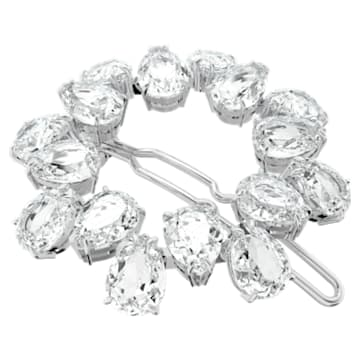 MIL002 hair clip, Pear cut crystals, White, Rhodium plated - Swarovski, 5620834