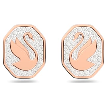Signum stud earrings, Swan, White, Rose-gold tone plated - Swarovski, 5621105