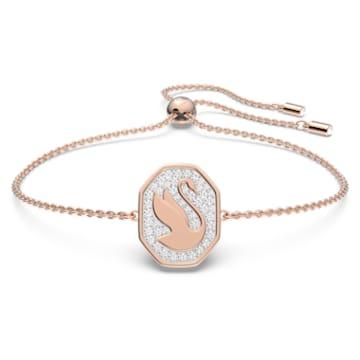 Signum 手链, 天鹅, 白色, 镀玫瑰金色调 - Swarovski, 5621107