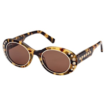 MIL002 sunglasses, Oversized, Pavé crystals, Brown - Swarovski, 5625304