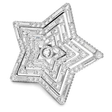 Stella 戒指, 星星, 大码 , 白色, 镀铑 - Swarovski, 5626366