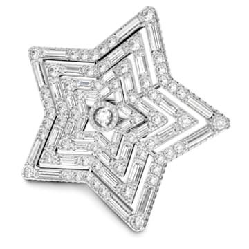 Stella ring, Star, Large, White, Rhodium plated - Swarovski, 5626366