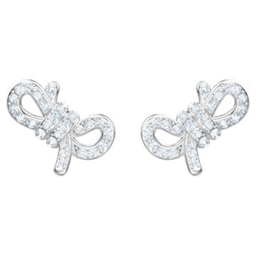 Lifelong Bow 穿孔耳环, 白色, 镀铑 - Swarovski, 5627345
