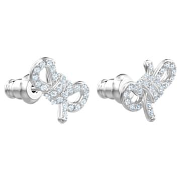 Lifelong Bow Pierced Earrings, White, Rhodium plated - Swarovski, 5627345