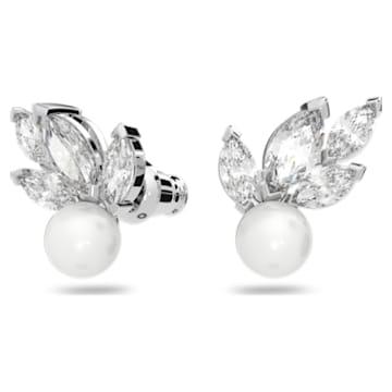 Louison Pearl Pierced Earrings, White, Rhodium plated - Swarovski, 5627346