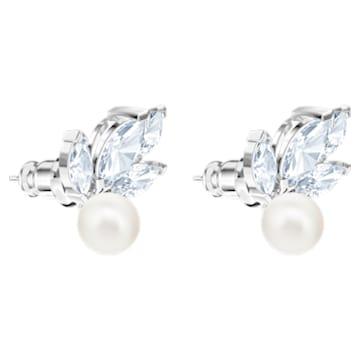 Louison Pearl 穿孔耳环, 白色, 镀铑 - Swarovski, 5627346