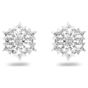 Magic 穿孔耳环, 白色, 镀铑 - Swarovski, 5627347