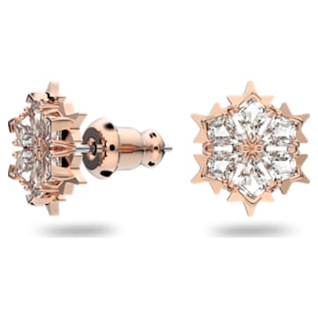Magic 穿孔耳环, 白色, 镀玫瑰金色调 - Swarovski, 5627348