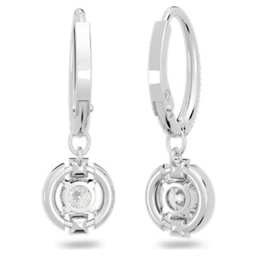 Swarovski Sparkling Dance Round 穿孔耳环, 白色, 镀铑 - Swarovski, 5627349