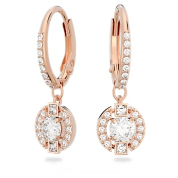 Swarovski Sparkling Dance Round 穿孔耳环, 白色, 镀玫瑰金色调 - Swarovski, 5627350