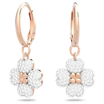 Latisha Pierced Earrings, White, Rose-gold tone plated - Swarovski, 5627353