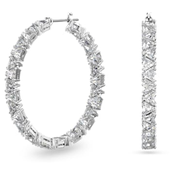 Millenia hoop earrings, Triangle Swarovski Zirconia, White, Rhodium plated - Swarovski, 5632466