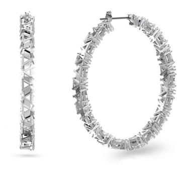 Millenia 大圈耳环, 三角形切割Swarovski皓石, 白色, 镀铑 - Swarovski, 5632466