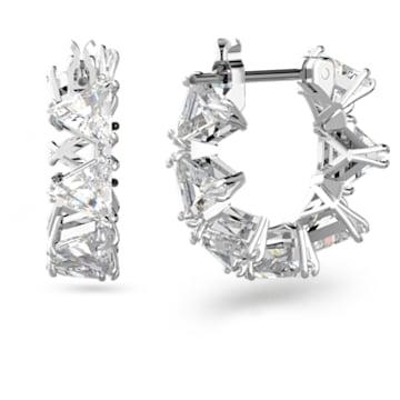 Millenia 大圈耳环, 三角形切割Swarovski皓石, 小码 , 白色, 镀铑 - Swarovski, 5632467