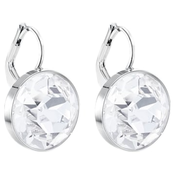 Bella 穿孔耳環, 球形切割, 白色, 鍍白金色 - Swarovski, 883551
