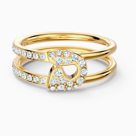 So Cool Pin Ring, weiss, vergoldet