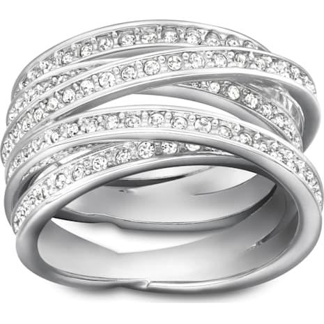 Spiral Ring, White, Rhodium Plating - Swarovski, 1156304