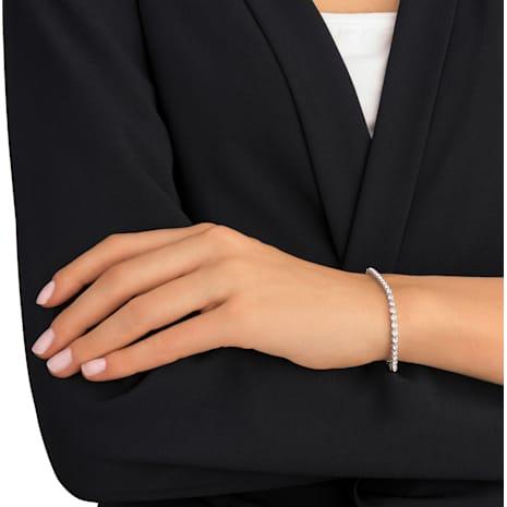 Emily 手鏈, 白色, 鍍白金色 - Swarovski, 1808960