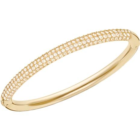 Stone Mini Bangle, White, Gold-tone plated - Swarovski, 5032848