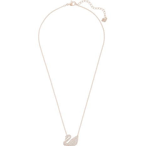 Swan 項鏈, 白色, 鍍玫瑰金色調 - Swarovski, 5121597