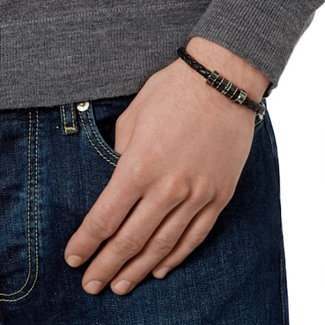 Diagonal Armband, Leder, schwarz, Edelstahl - Swarovski, 5159648