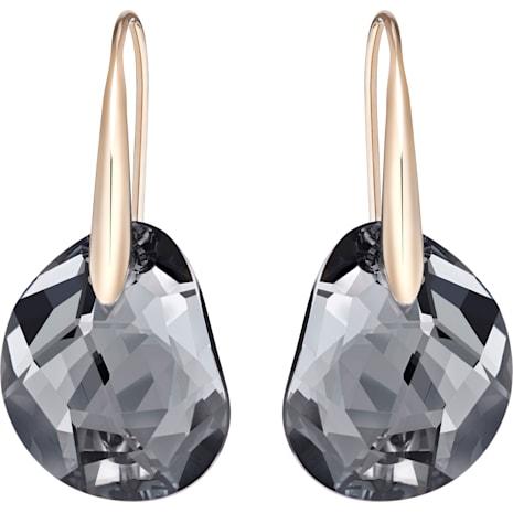 Boucles d'oreilles Galet, gris, Métal doré rose - Swarovski, 5165033