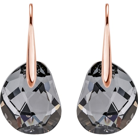 Galet Pierced Earrings, Gray, Rose-gold tone plated - Swarovski, 5165033