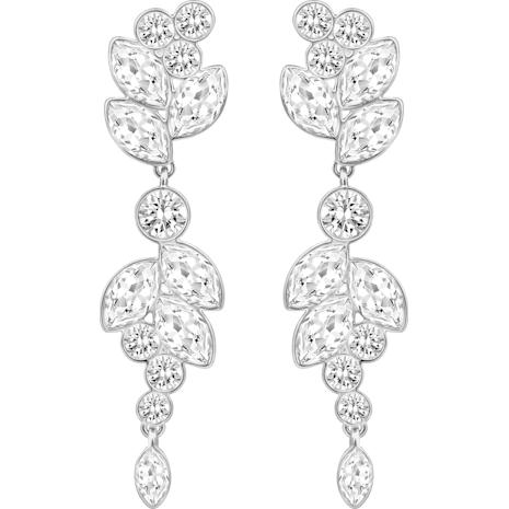 Diapason Pierced Earrings, Medium, White, Rhodium Plating - Swarovski, 5180709