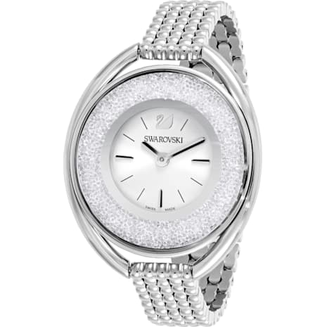 Crystalline Oval Watch, Metal bracelet, White, Stainless steel - Swarovski, 5181008