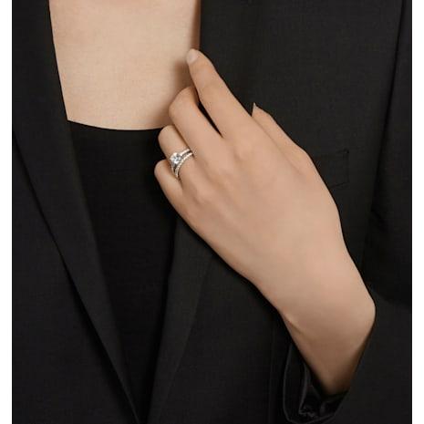 Conjunto de anillos I Do, blanco, Baño de Rodio - Swarovski, 5184317