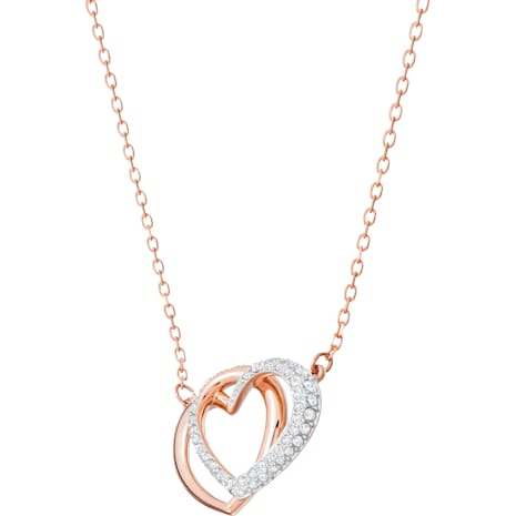 Dear Necklace, White, Rose-gold tone plated - Swarovski, 5194826